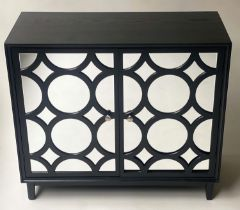 SIDE CABINET, black ash with two circle mirror panelled doors, 91cm x 40cm x 78cm H.
