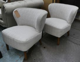 COCKTAIL SIDE CHAIRS, a pair, 70cm W, vintage 20th century in later upholstery.