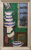 CAROL MADDISON 'Still Life with Creamware Jug and Bowl', oil on board, 59cm x 29cm, signed and