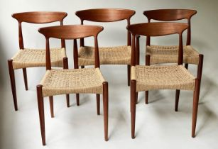 MOGENS KOLD DINING CHAIRS BY ARNE HOVMAND, a set of five, 77cm H, teak framed and papercord seats