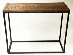 CONSOLE TABLE, rectangular chevron parquet top on black metal frame, 100cm x 37cm x 81cm H.
