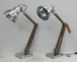 DESK LAMPS, a pair, 86cm at tallest, industrial design. (2)