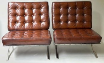 BARCELONA STYLE CHAIRS, a pair, buttoned tan leather on chromed steel X frame supports, 76cm W. (2)