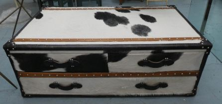 LOW CHEST, 13cm x 78cm x 45cm, hide upholstered, leather trim, three drawers.