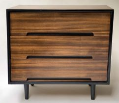 CHEST, 1960's exotic wood and ebonised with three long drawers, 46cm x 76cm H x 74cm H.