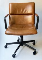REVOLVING DESK CHAIR, stitched panelled tan leather revolving and reclining on an adjustable base