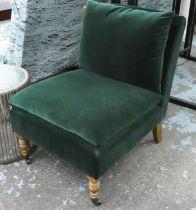 OKA SIDE CHAIR, 63cm x 84cm H, green velvet.