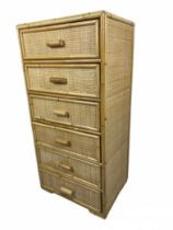 TALL CHEST, 1970's rattan and bamboo with six drawers, 101cm H x 50cm x 37cm.