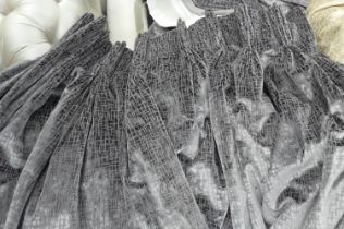 CURTAINS, a pair, each 155cm W gathered by 227cm drop grey velvet, lined and interlined. (2)