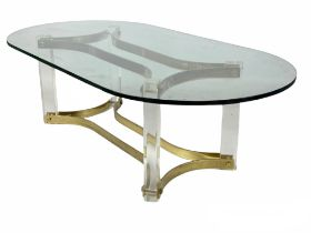LOW TABLE, 1970's lucite and brass with a rounded glass top, 42cm H x 135cm x 70cm.