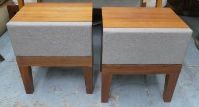 BED SIDE TABLES, a pair, 45cm x 35cm x 52cm, with one drawer each, upholstered detail. (2)
