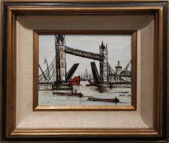 NOSSEN (20th Century), after Bernard Buffet 'Tower Bridge', oil on canvas, 19cm x 24cm, signed,