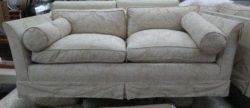 SOFA, 90cm D x 66cm H x 180cm W, in a patterned woven fabric.