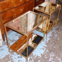 OKA MIRRORED SIDE TABLES, a pair, 60cm W x 62cm H x 40cm D two tier gilt metal framed, each tier