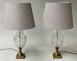 TABLE LAMPS, a pair, Venetian style engraved cut glass and gilt metal base with shades, 76cm H. (2)