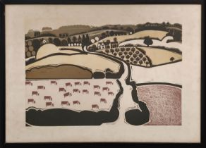 GRAHAM CLARKE (b.1941) 'Chalk Hills', circa 1966, colour block on paper, signed and titled, 43cm x