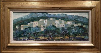 GIDEON ISAKSON (1911-1980) 'Village in Tenerife', oil on canvas, signed indistinctly, 18 x 49cms,