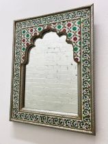 WALL MIRROR, Indian enamel and metal framed, 45cm x 35cm, together with a Damascus brass inlaid wall