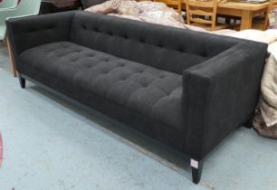 SOFA, 216cm L x 70cm H with black upholstery.