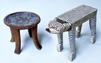 TIGER STOOL, painted wooden with flat back together with a circular African tribal tray, stool