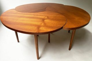 LOW TABLE, tripartite teal with three interlocking section, 100cm x 40cm H. (3)