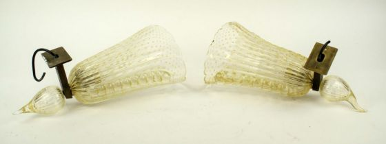 WALL SCONCES, a pair, 37cm L, Murano glass style. (2)