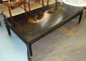 LOW TABLE, 90cm x 48cm H x 178cm, black with gilt Chinoiserie detail.