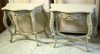 CONSOLE TABLES, a pair, French style grey painted, the shaped tops above carved cabriole supports,