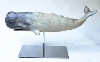 WHALE ON STAND, model of a whale on chromium stand, 75cm x 36cm H.