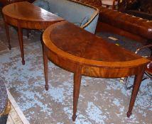 DEMI-LUNE CONSOLE TABLES, a pair, each 128cm W x 74cm H x 64cm D late 19th century George III design