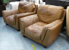ARMCHAIRS, a pair, each 102cm W x 90cm H, brown leather.