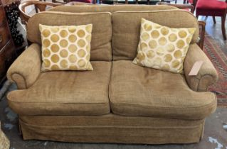 KINGCOME SOFA, 154cm L x 81cm H two seater, with woven upholstery and two circle patterned scatter