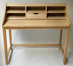 WORK STATION, contemporary ash with drawer and cubby holes and pull out writing surface, 105cm x