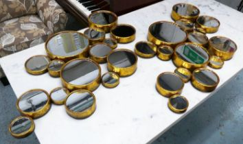 BUBBLE WALL MIRRORS, a pair, 105cm x 65cm, 1960's French style, gilt metal frames. (2)