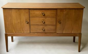 GORDON RUSSEL SIDEBOARD, 1970's walnut with three short drawers flanked by cupboards, 141cm x 49cm x
