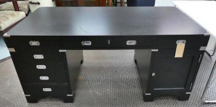 CAMPAIGN STYLE PEDESTAL DESK, 170cm W x 79cm H x 82.5cm D ebonised with drawers below having