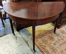 DEMI-LUNE CONSOLE TABLE, 112cm W x 74cm H x 60cm D George III mahogany on castors.