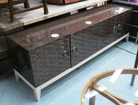 MICHAEL NORTHFRONT LOW DISPLAY ARGENTO SIDEBOARD, 51cm x 67cm H x 201cm, with integral spolights.