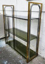 ETAGERE, 88cm x 31cm x 103cm, 1970's brass and chrome, glass shelves.