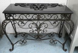 CONSOLE TABLE, 115cm W x 56cm D, the black marble top on a metal base.