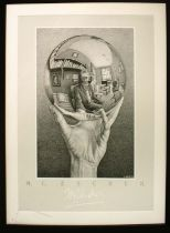 AFTER MAURITS CORNELIS ESCHER 'Hand with Sphere', black and white print, 70cm x 50cm, framed.