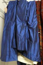 CURTAINS, a pair, each 250cm W gathered by 290cm drop, blue, shot silk style fabric lined.