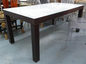 EXTENDABLE DINING TABLE, 165cm x 90cm x 73cm unextended, contemporary, frosted glass top with