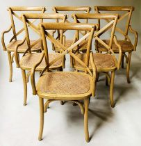 OKA DINING CHAIRS, a set of six oak bentwood with bentwood frame and backs and cane seats. (6)