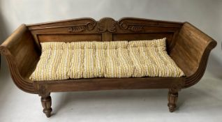 ANGLO-INDIAN BENCH, 168cm W, Colonial style, hand carved teak, with fluted scrolled arms and