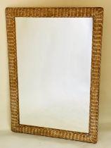 WALL MIRROR, rectangular shaped woven cane framed, 81cm x 113cm H.