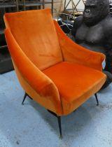 ARMCHAIR, 85cm W, vintage 1950's Italian style orange velvet finish.