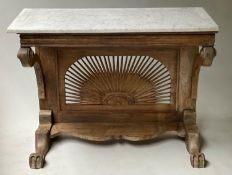 ANGLO-INDIAN CONSOLE TABLE, 112cm W x 51cm D x 86cm H, Colonial style teak, with marble top,