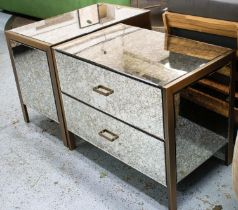 SIDE CABINETS, a pair, 80cm x 50cm x 65cm antiqued mirrored glass detail. (2)