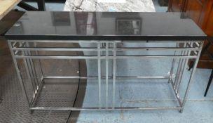 ANDREW MARTIN CONSOLE TABLE, 46cm D x 11cm W x 82cm H, granite top.